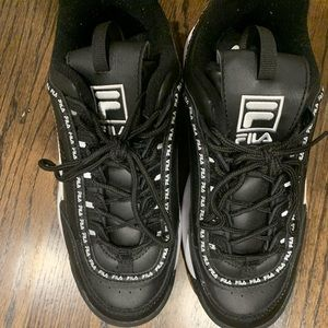 Black and white fila shoes